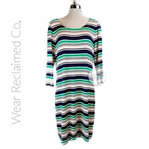 BANANA REPUBLIC STRIPED Knit T-Shirt Sheath Dress
